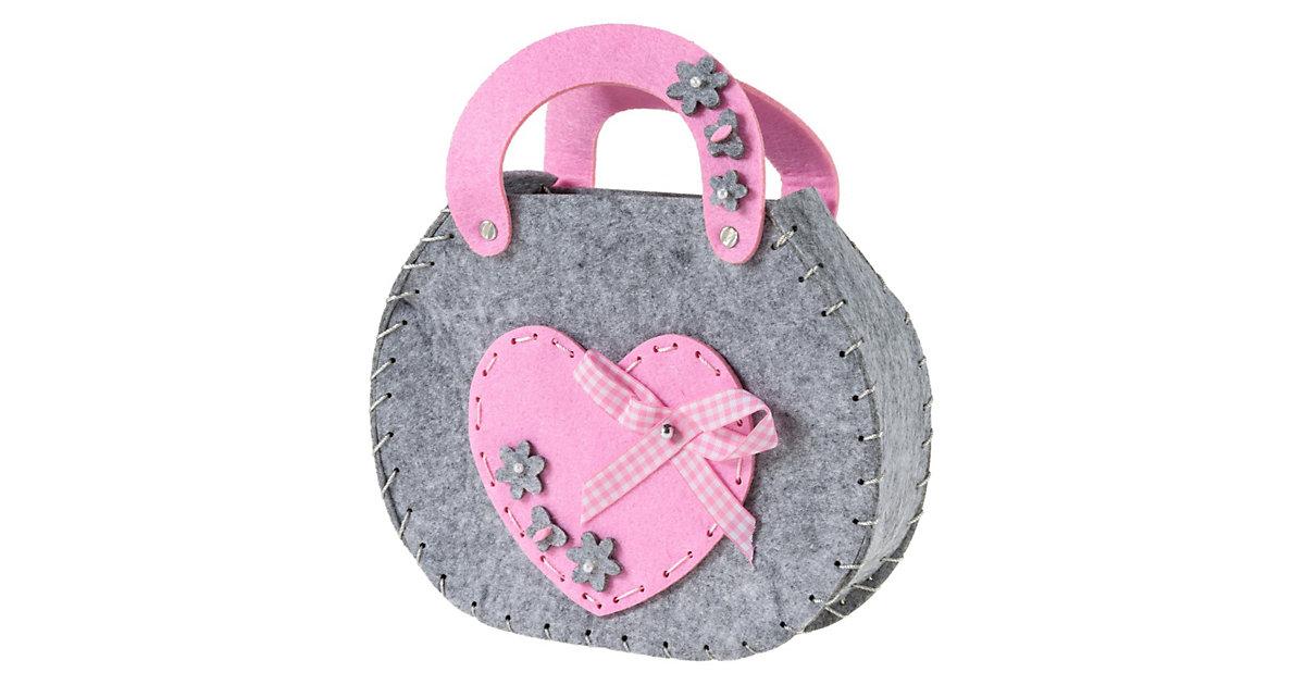 Kreativset Filztasche Herz pink/grau