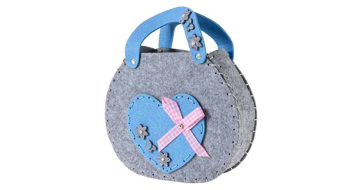Kreativset Filztasche Herz blau/grau