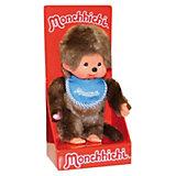 Мягкая игрушка Monchhichi Мончичи, мальчик в синем слюнявчике, 20 см