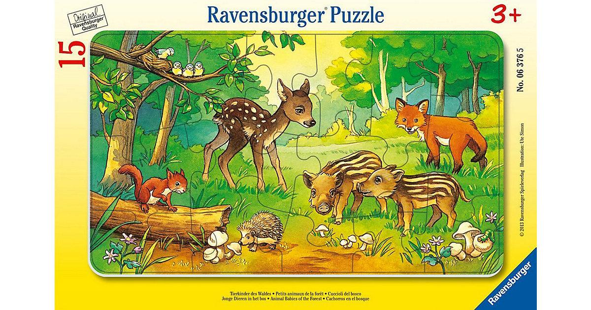 Rahmen-Puzzle, 15 Teile, 25x14,5 cm, Tierkinder des Waldes