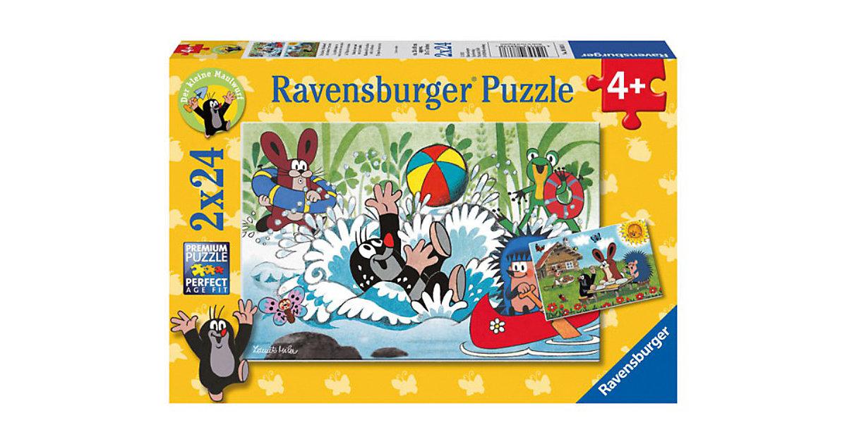 2er Set Puzzle, je 24 Teile, 26x18 cm, Der kleine Maulwurf: Urlaub mit Maulwurf und seinen Freunden