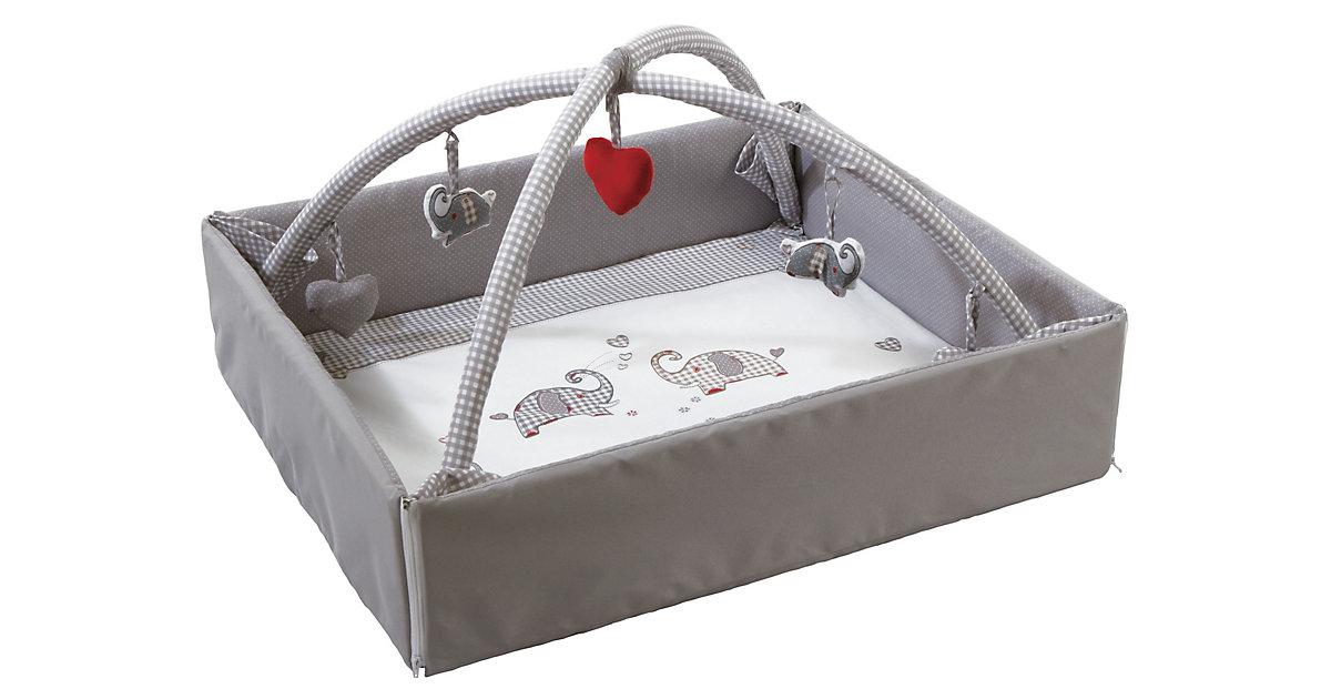 roba · ROBA Babynest Jumbotrwins grau weiß mit Spielbogen 125x115 cm