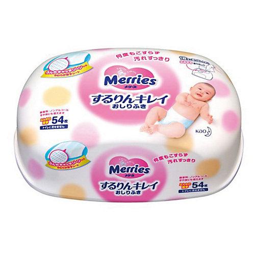 Детские влажные салфетки Merries, 54 шт., пластиковый контейнер от Merries