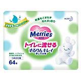 Детские влажные салфетки Merries Flushable, 64 шт., запасной блок