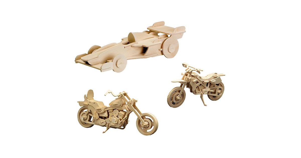 Holzbausatz-Set Harley Davidson, Formel 1 Rennwagen und Motorrad