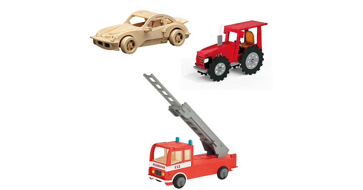 Holzbausatz-Set Traktor, Feuerwehr & Rennwagen
