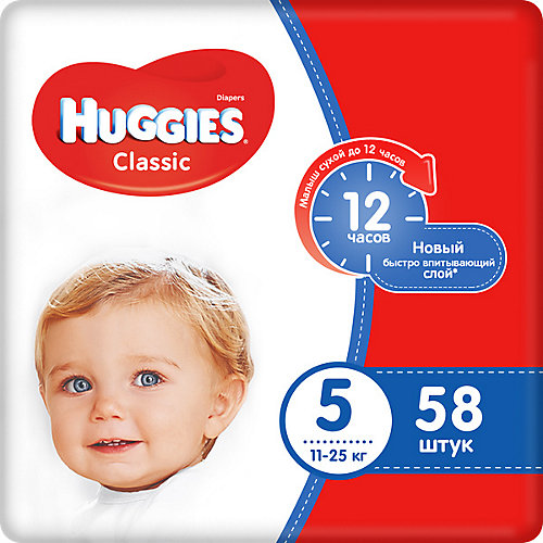Подгузники Huggies Classic 5 Mega Pack, 11-25 кг, 58 шт. от HUGGIES
