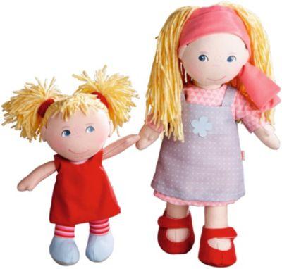 HABA 300128 Puppenschwestern Lennja & Elin, 30 cm und 20 cm