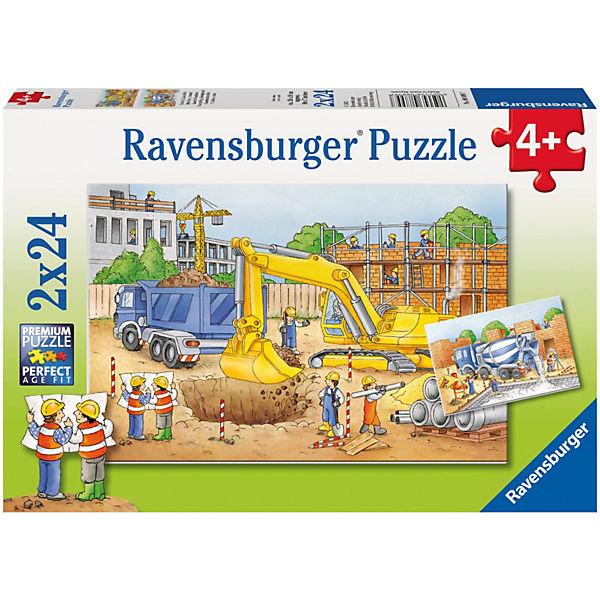 Puzzleset Vorsicht Baustelle! 2 x 24 Teile, Ravensburger