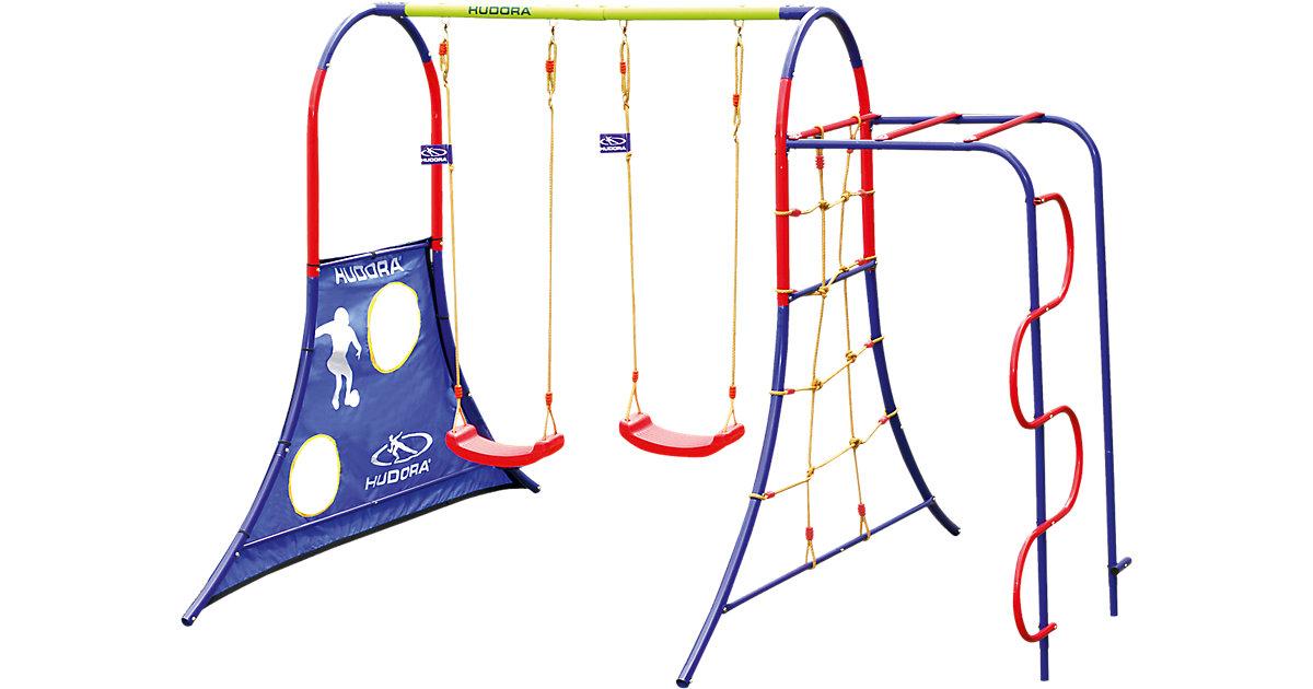Schaukelgestell Spielplatz blau/rot