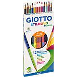 Двусторонние цветные карандаши Giotto, 12 штук, 24 цвета.