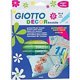 Фломастеры для рисования по ткани Giotto, классические цвета, 12 шт