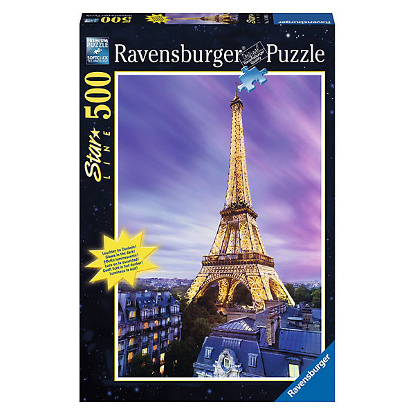Puzzle 500 Teile, 49x36 cm, Star Line, mit Leuchtfarbe, Funkelnder Eiffelturm, Ravensburger