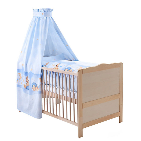 kinderbett komplett buche natur kuschelb r blau 70 x 140 cm z llner mytoys. Black Bedroom Furniture Sets. Home Design Ideas