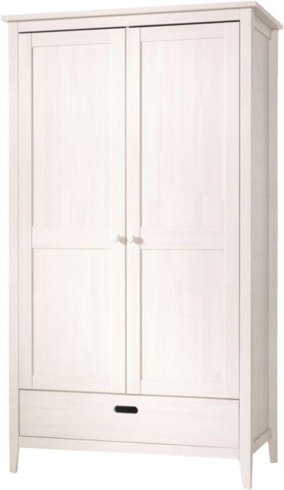 Kleiderschrank LUMIO 2 türig Kiefer massiv weiß gewachst
