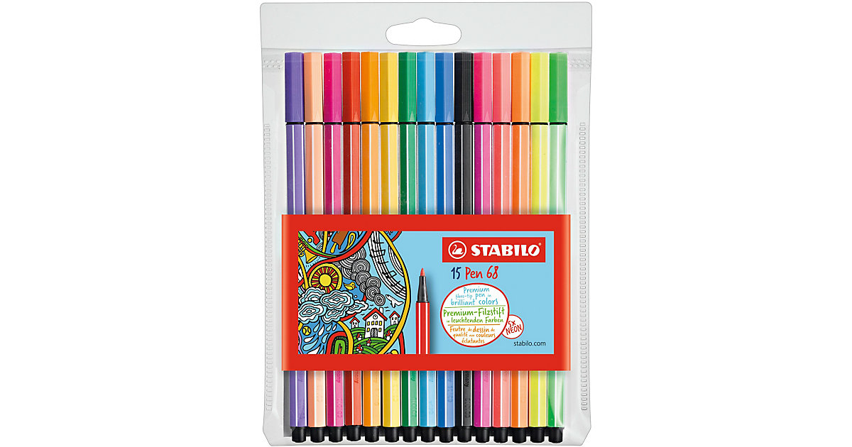 Filzstifte Pen 68 NEON, 10 & 5 Farben