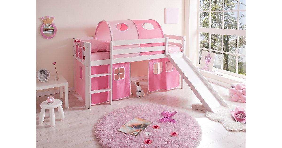 Spielbett Manuel, Kiefer massiv weiß, rosa-pink, 90 x 200 cm