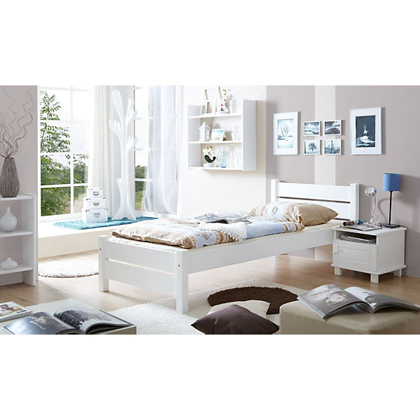 jugendbett bora kiefer massiv wei 90 x 200 cm ticaa. Black Bedroom Furniture Sets. Home Design Ideas