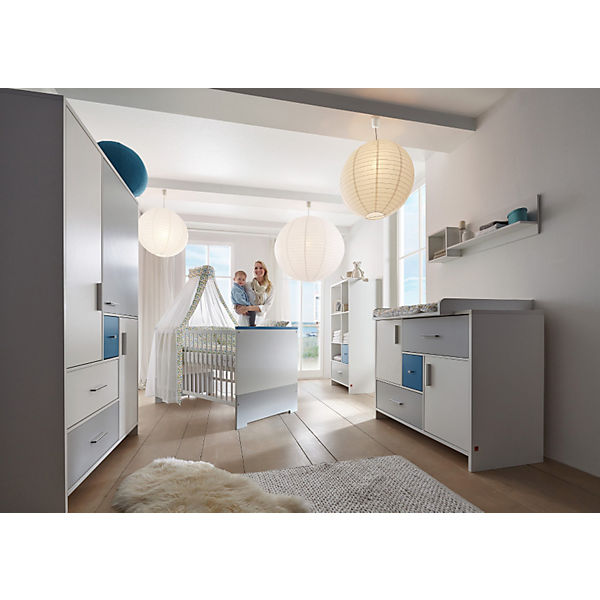 Komplett Kinderzimmer CANDY BLUE, 3-tlg. (Kinderbett, Umbauseiten,  Wickelkommode und 3-türiger Kleiderschrank), weiß/blau/grau, Schardt
