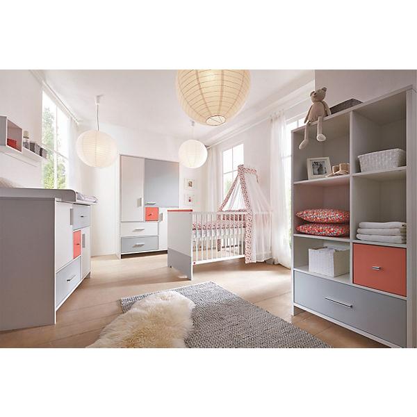 Komplett Kinderzimmer CANDY RED, 3 Tlg. (Kinderbett, Umbauseiten,  Wickelkommode Und