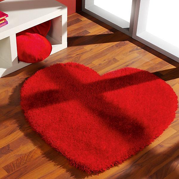 Teppich Shaggy Herz Rot Mytoys