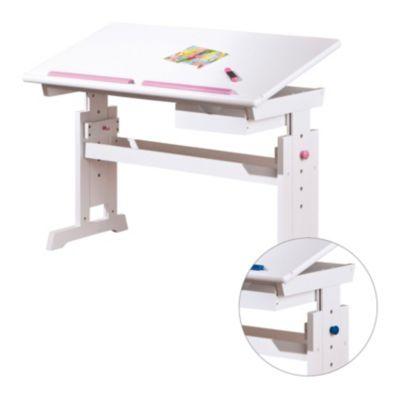 Schreibtisch TOMKE Vario, Höhenverstellbar, Weiß, Rosa/blau Wechselbar ...