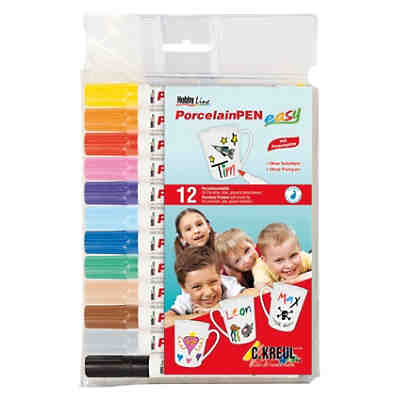 Hobby Line Porzellanmalstifte Porcelain Pen easy for Kids, 12 Farben