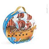 """Пазл в круглом чемоданчике """"Пиратский корабль"""", 39 деталей,  Janod"""