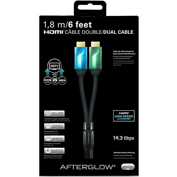 PS3 Afterglow HDMI Kabel 1,8m (2-fach), Blau/Grün