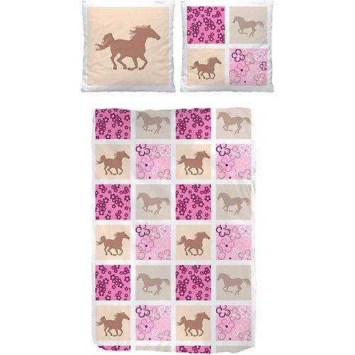 Pferdebettwäsche, Kinderbettwäsche Pferde, Biber, rosa, 135 x 200 cm Sale Angebote