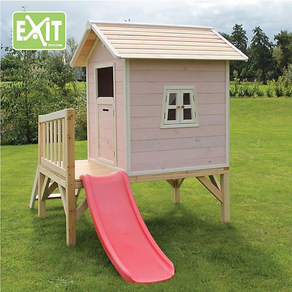 spielhaus beach mit veranda und rutsche pink exit mytoys. Black Bedroom Furniture Sets. Home Design Ideas