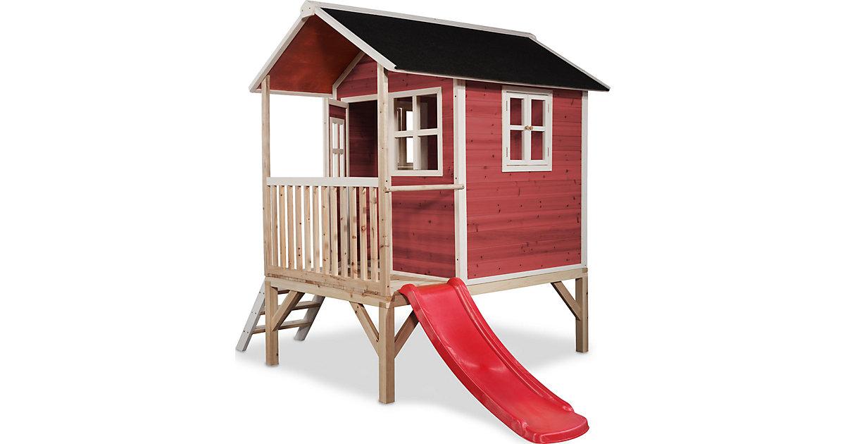 """Spielhaus """"Loft"""" mit Veranda und Rutsche, rot, ca. 260x185x225 cm"""