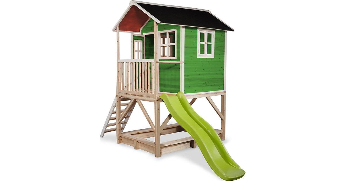 """Spielhaus """"Loft"""" mit Veranda, Sandkasten und Rutsche, grün, ca. 118 x 328 x 255 cm"""