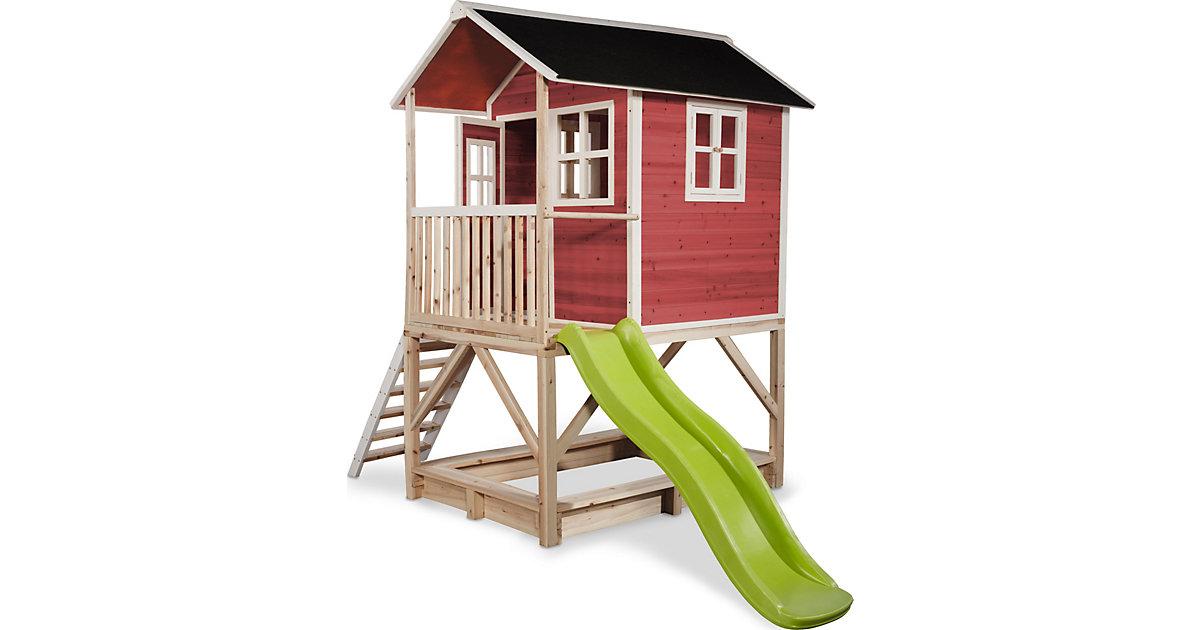 """Spielhaus """"Loft"""" mit Veranda, Sandkasten und Rutsche, rot, ca. 118 x 328 x 255 cm"""