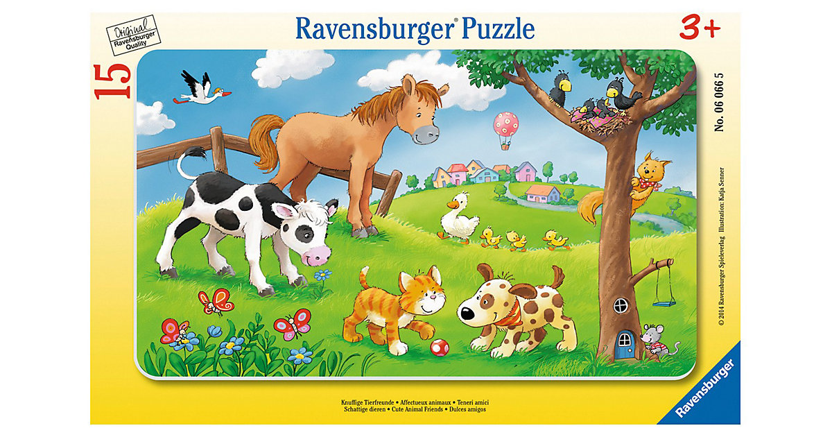 Rahmen-Puzzle, 15 Teile, 25x14,5 cm, Knuffige Tierfreunde