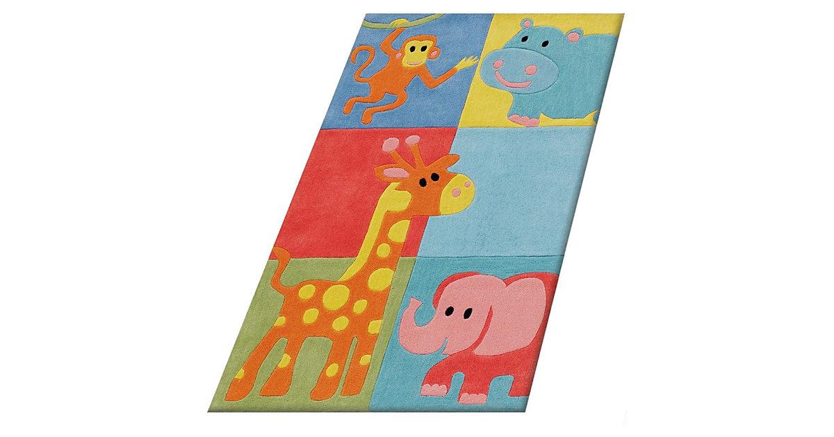 Kinderteppich Zoo Tiere mehrfarbig Gr. 80 x 150