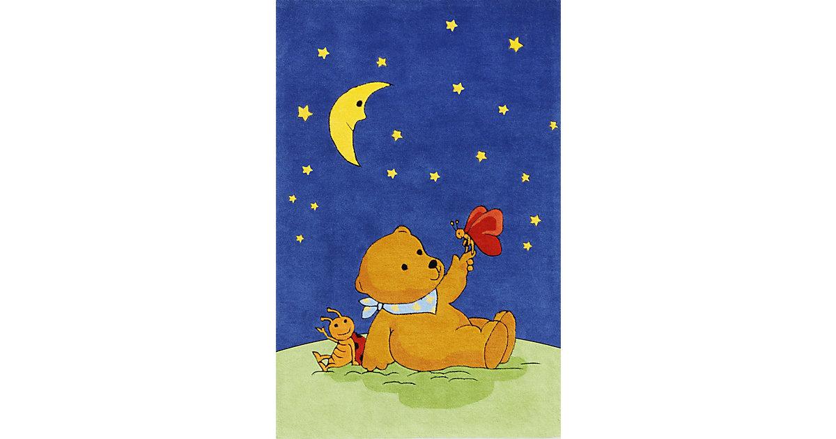 Kinderteppich Mondbär mit Schmetterling blau Gr. 110 x 170 | Kinderzimmer > Textilien für Kinder > Kinderteppiche | Spiegelburg
