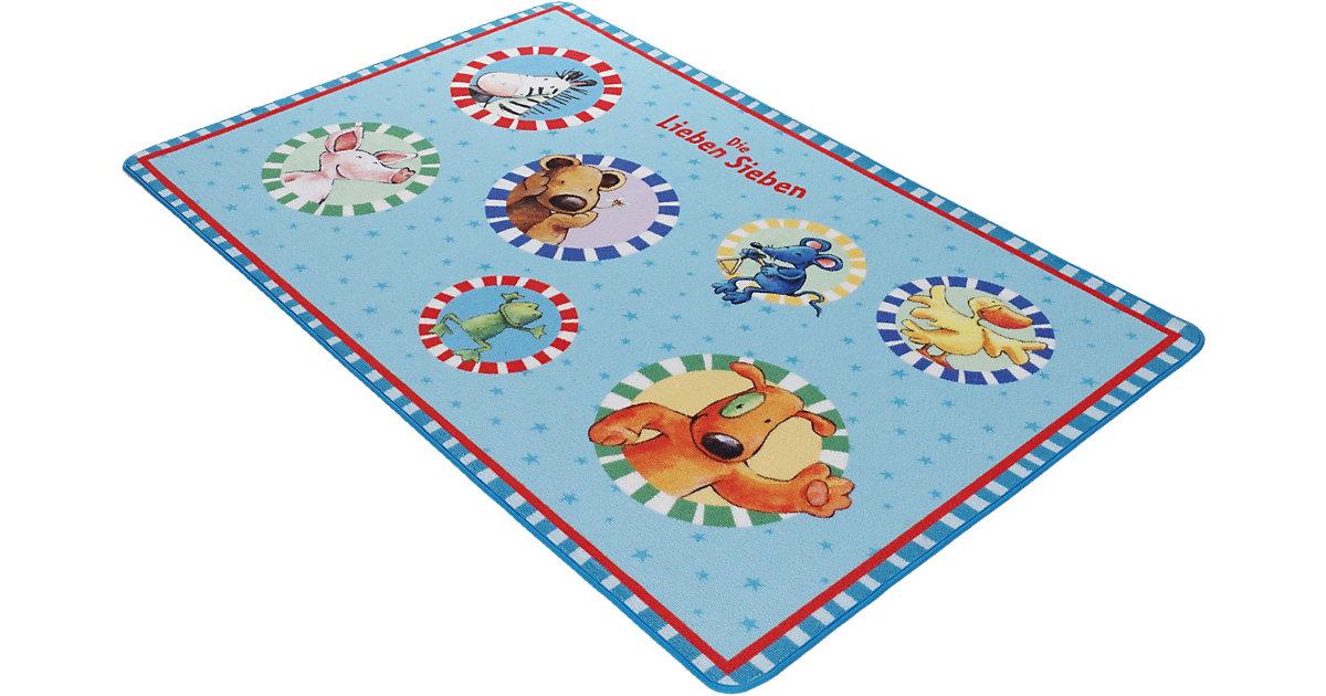 Kinderteppich Die Lieben Sieben, 100 x 160 cm hellblau