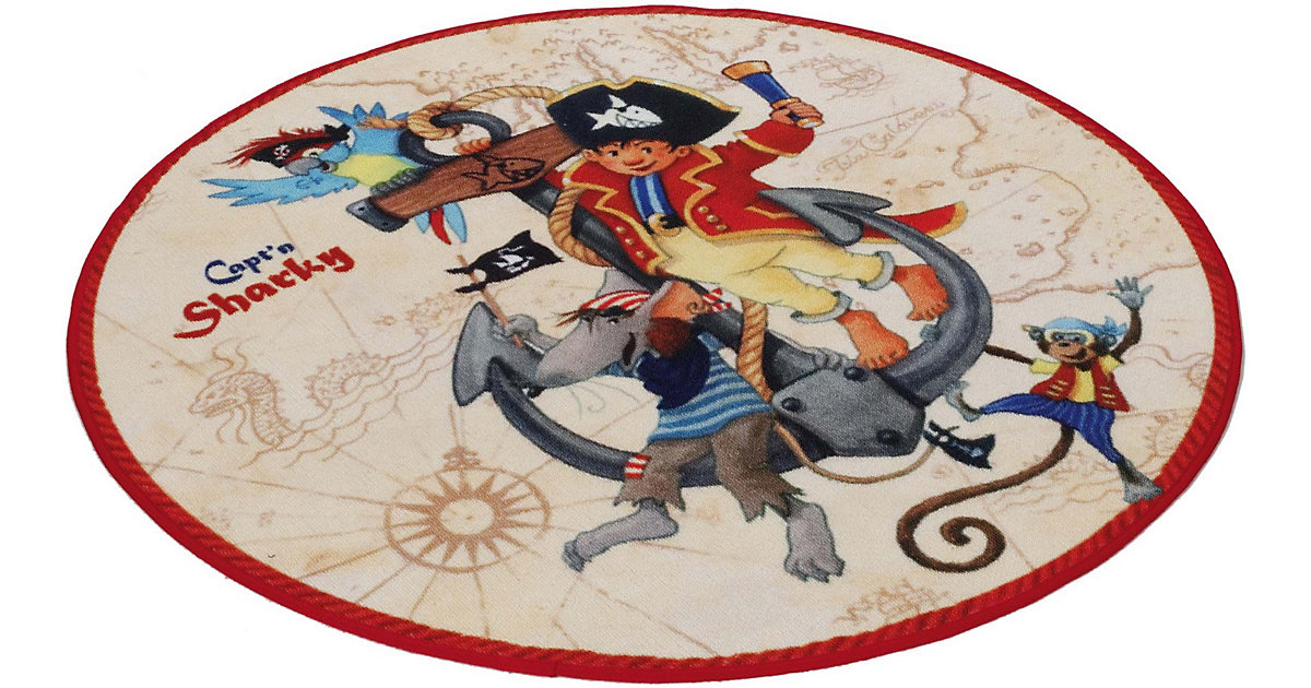Kinderteppich Capt'n Sharky beige rund, beige, 130 cm