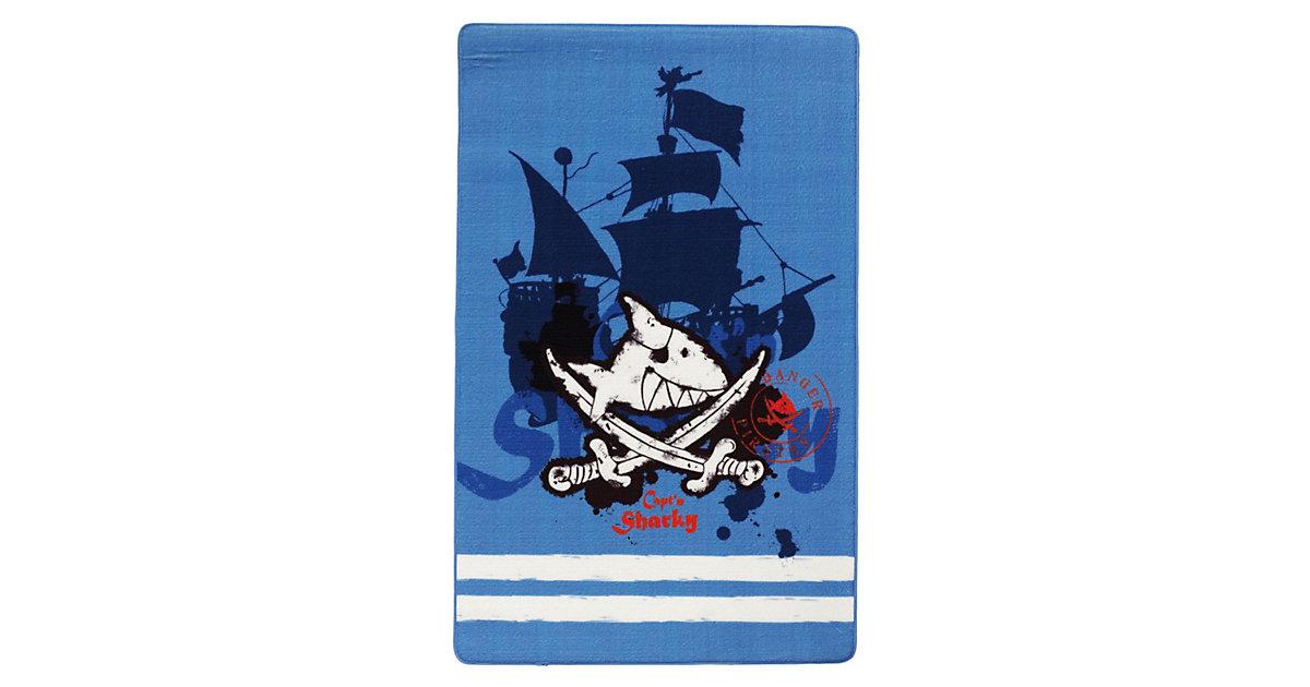 Kinderteppich Capt'n Sharky Schiff blau Gr. 100 x 160