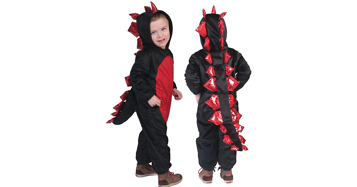 Kostüm Drache rot schwarz/rot Gr. 116 Jungen Kleinkinder
