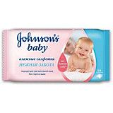Влажные салфетки Нежная забота, Johnson`s baby, 64 шт.