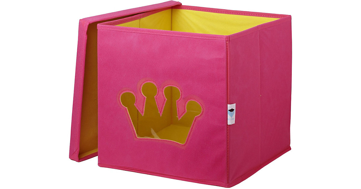 Aufbewahrungsbox Krone, mit Sichtfenster, rosa pink/gelb | Dekoration > Aufbewahrung und Ordnung > Korbwaren | STORE IT!