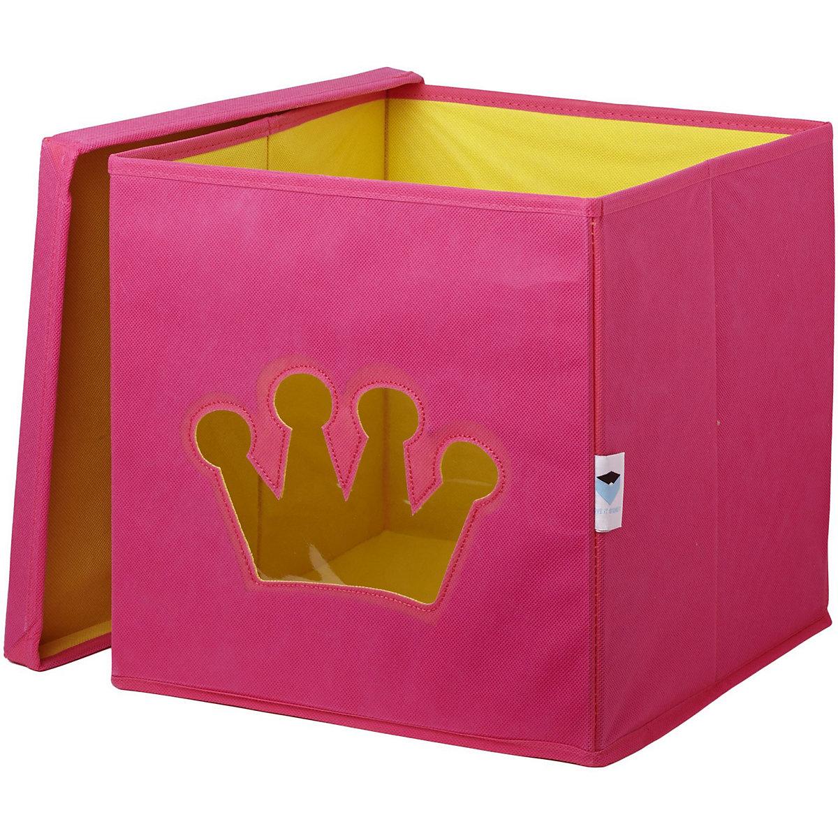 aufbewahrungsbox krone mit sichtfenster rosa store it. Black Bedroom Furniture Sets. Home Design Ideas