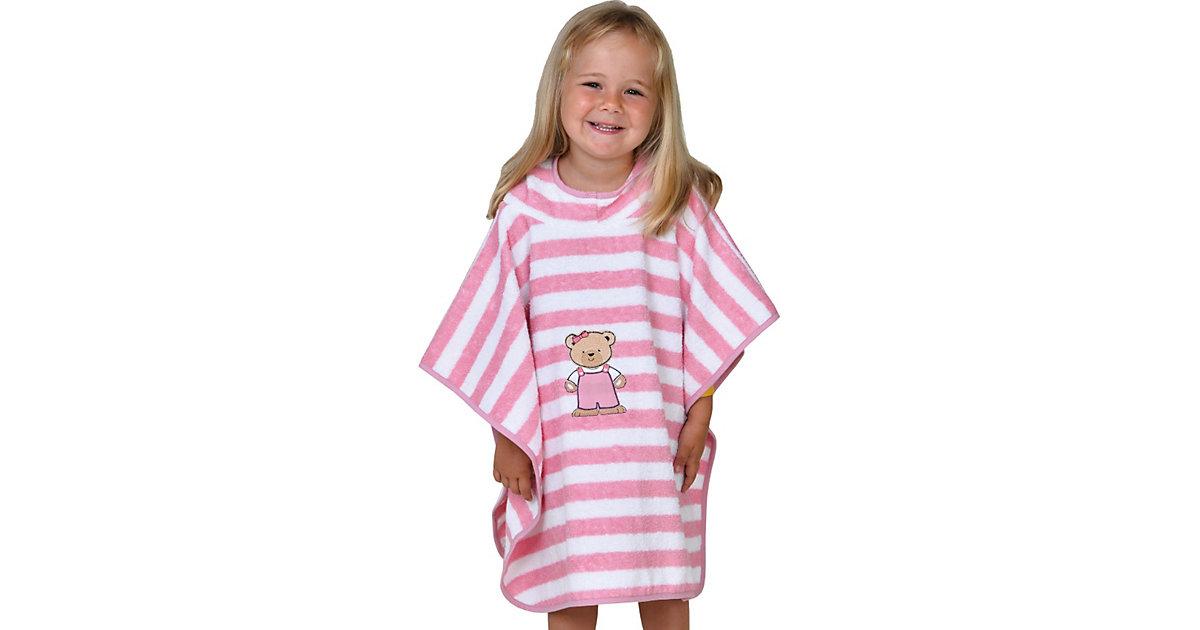 Wörner · Badeponcho Teddy Ringel rosa, 75 x 60 cm Gr. 60 x 75 Mädchen Kleinkinder