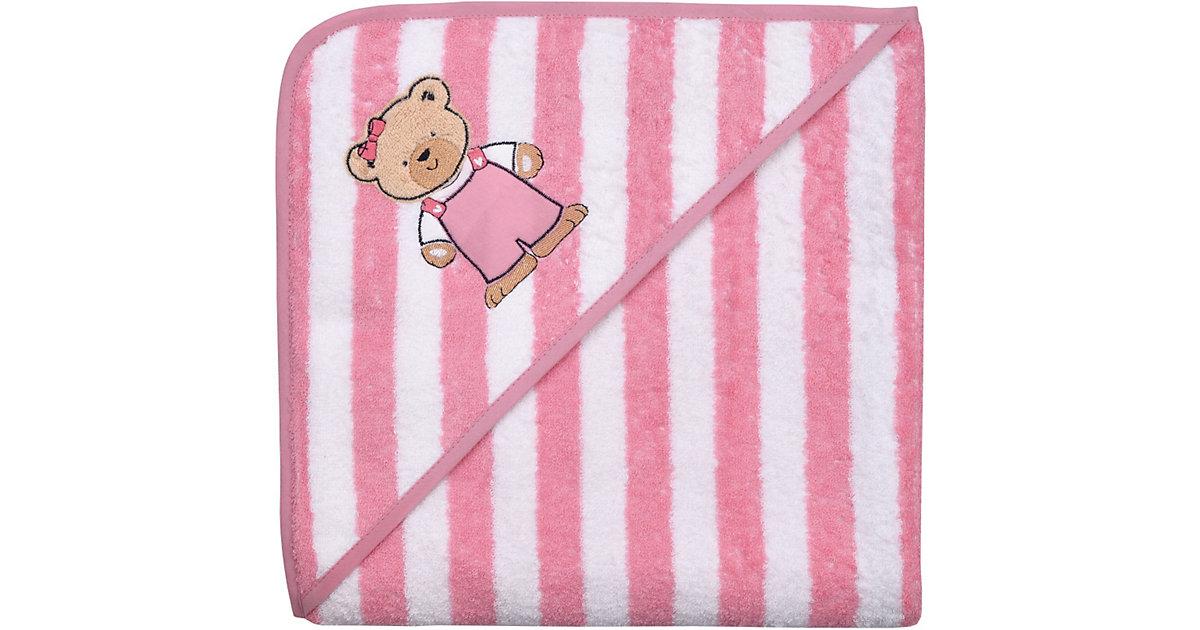 Wörner · Kapuzenbadetuch XL, Teddy Ringel rosa, 100 x 100 cm
