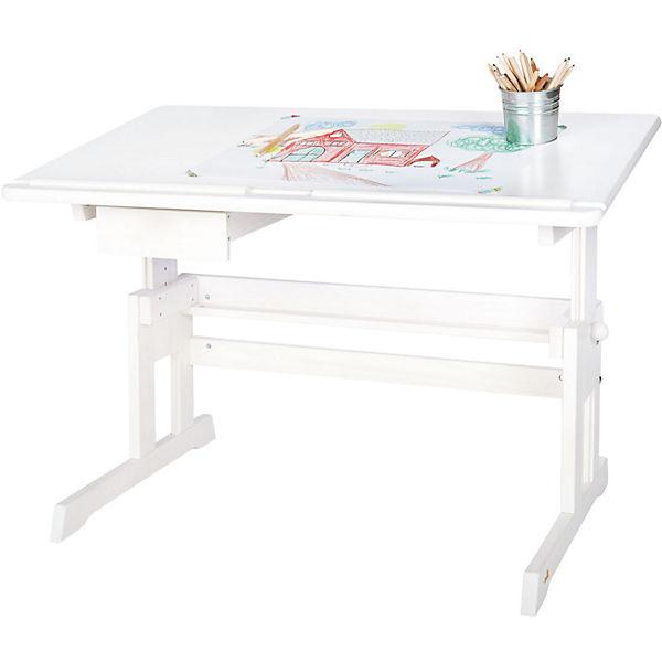 Eckschreibtisch weiß kinder  Schreibtisch LENA, höhenverstellbar, Fichte massiv, weiß lasiert ...