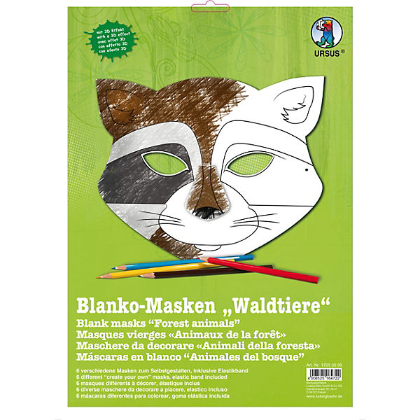 Kreativset Blanko Masken Waldtiere 6 Stück URSUS