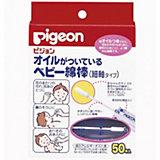Палочки ватные с масляной пропиткой 50шт, индивид. упак., Pigeon