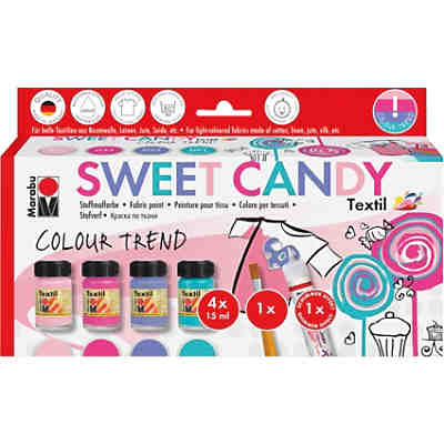 Stoffmalfarbe SWEET CANDY, 4 x 15 ml inkl. Pinsel & Fashionliner